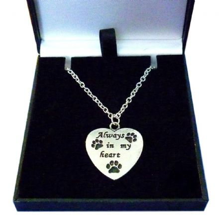 Always in My Heart Memorial Necklace with three Paw Prints